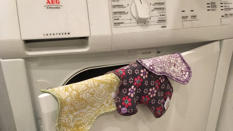 Et hop, au sèche linge en mode séchage normal pas de précaution particulière. - Nappilla