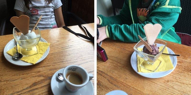 Des petites glaces sorbet citron vert et chocolat suisse pour reprendre des forces au restaurant le Juegdschlass.