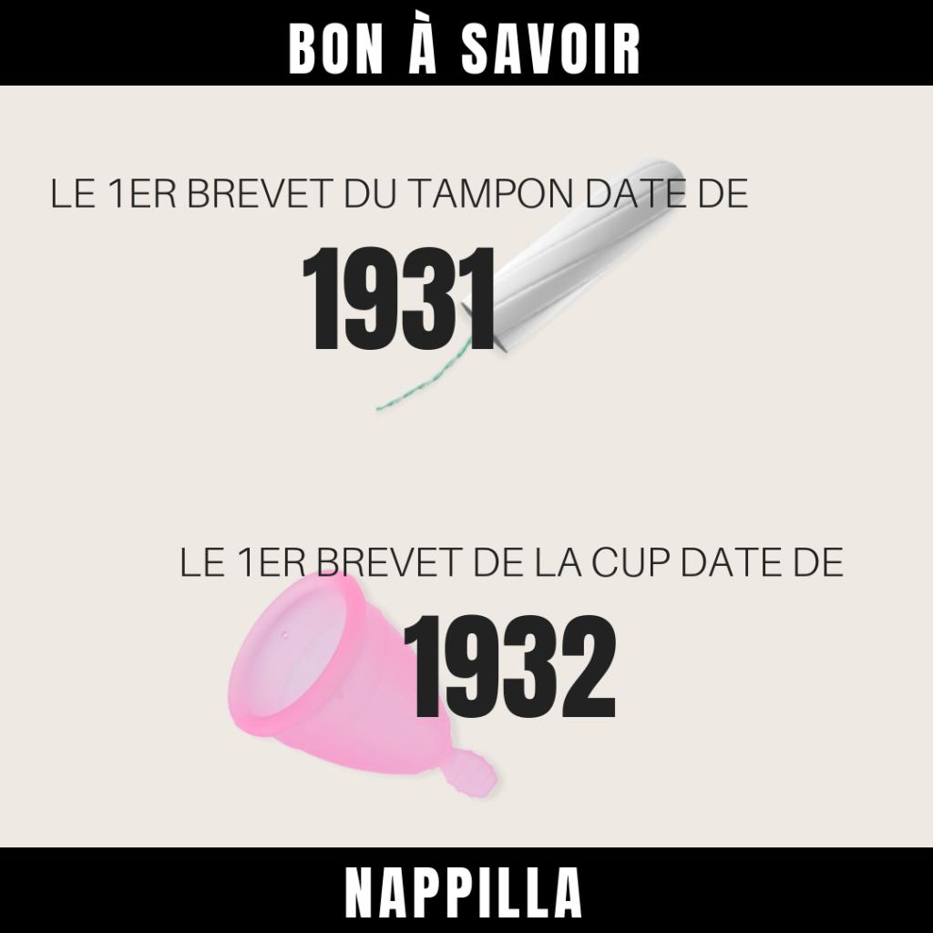 """Infographie sur la coupe menstruelle et le tampon """"les brevets"""""""