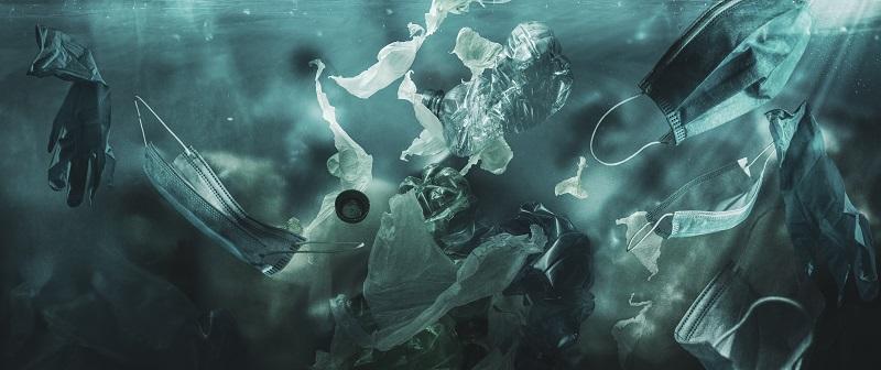 Les déchets du coronavirus covid-19 polluent l'océan